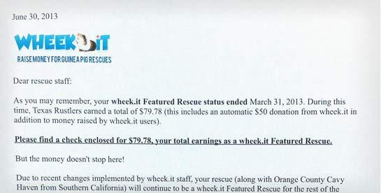 Non profit donation letter sent to guinea pig shelter